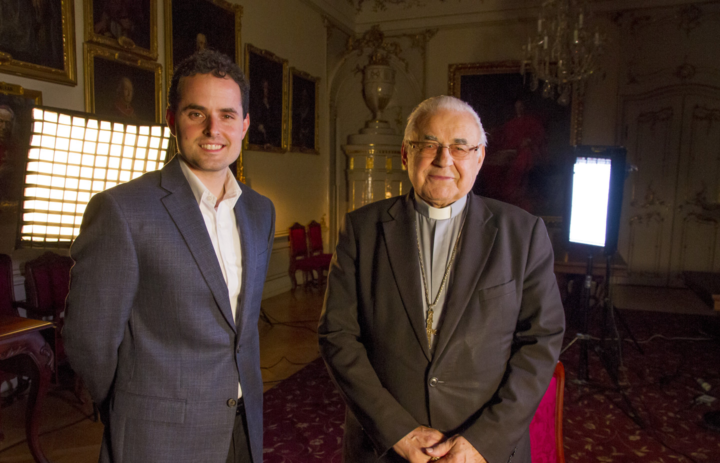 Director David Naglieri with Cardinal Miloslav Vlk following an interview conducted in the Archbishop's palace located in Hradcanske square near Prague Castle.